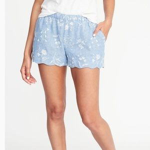 Old Navy Shorts - Old Navy Blue Linen Blend Scallop Hem Shorts